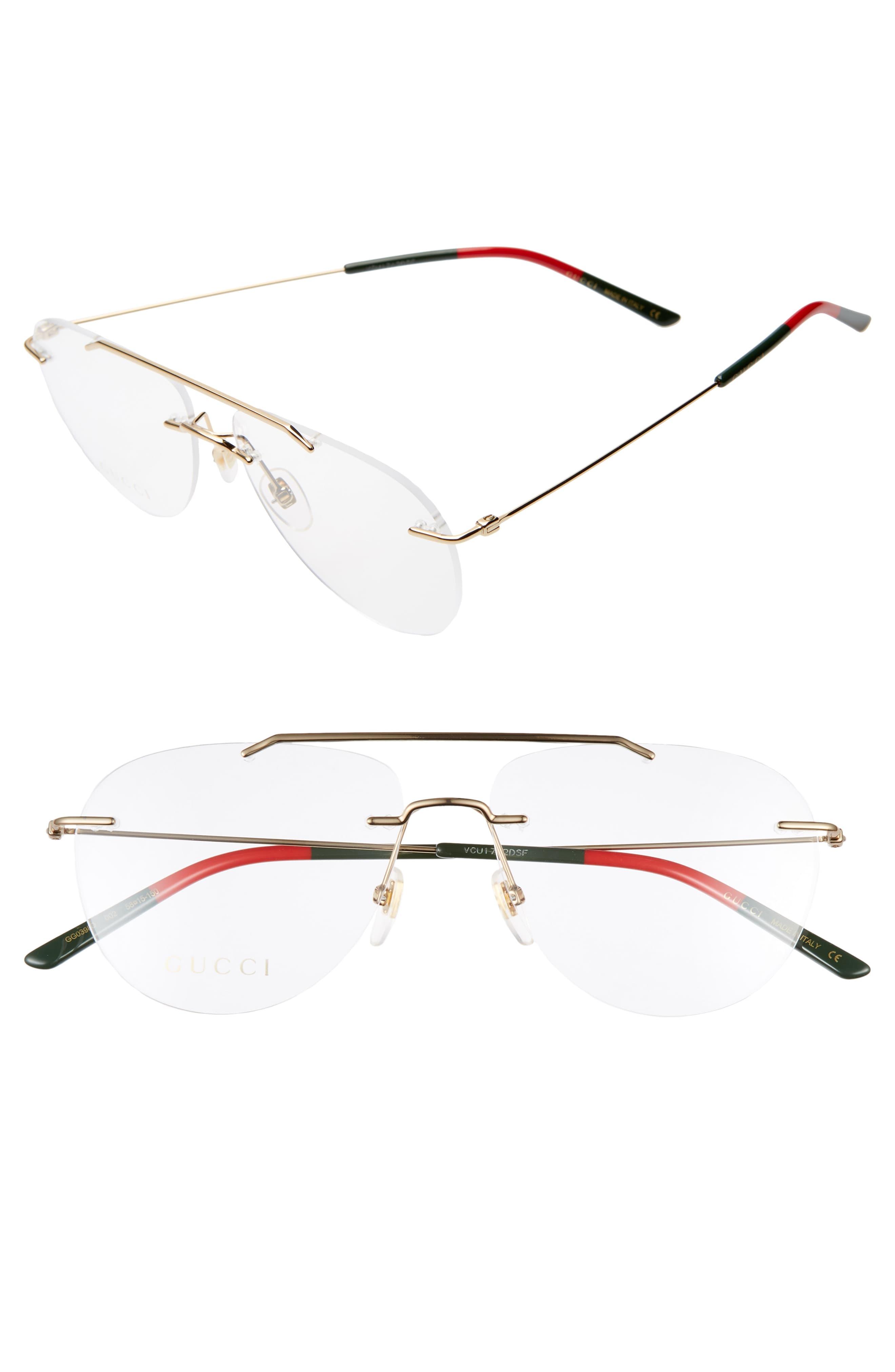 31654195f6d0 Gucci 58Mm Rimless Aviator Optical Glasses –   The Fashionisto