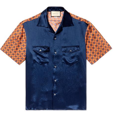 26fda3d50 Gucci – Camp-Collar Satin and Printed Silk-Twill Shirt – Men – Navy ...