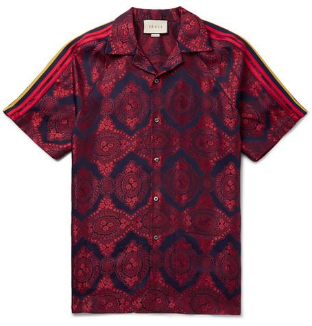 f500eef15b0d78 Gucci – Camp-Collar Webbing-Trimmed Jacquard Shirt – Men – Red | The ...