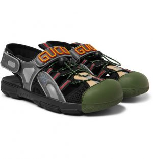Gucci - Logo-Detailed Rubber, Leather and Mesh Sandals - Men - Black