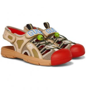 Gucci - Tinsel Logo-Detailed Rubber, Leather And Mesh Sandals - Men - Red
