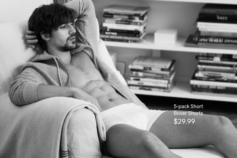 Ignacio Ondategui lounges in a pair of white H&M boxer shorts.