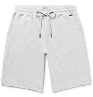 Hanro - Mélange Fleece-Back Stretch-Cotton Jersey Drawstring Shorts - Men - Gray