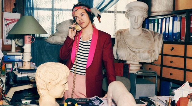 Harry Styles reunites with Gucci for its pre-fall 2019 tailoring campaign.
