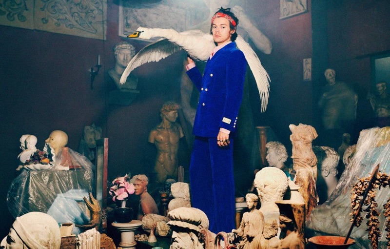 Sporting blue velvet, Harry Styles fronts Gucci's pre-fall 2019 tailoring campaign.