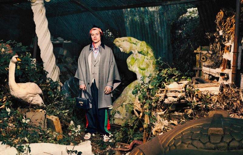 An eccentric vision, Harry Styles appears in Gucci's pre-fall 2019 tailoring campaign.