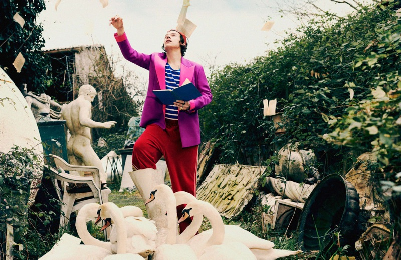 Gucci enlists Harry Styles to star in its pre-fall 2019 tailoring campaign.