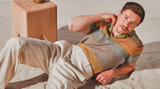 Actor Joe Dempsie dons a Missoni polo shirt with Dior Men trousers.
