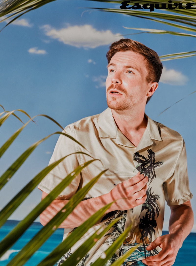 Connecting with Esquire, Joe Dempsie wears a shirt by The Kooples.
