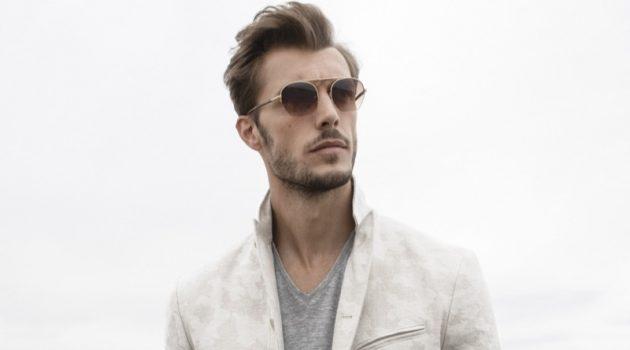 A chic vision, Federico Cola dons a John Varvatos Collection camo jacquard jacket $1,298.