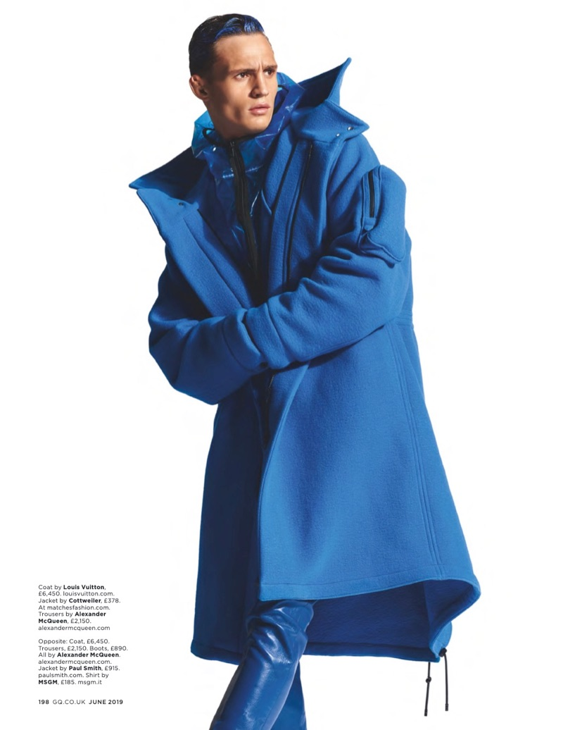 Julian Schneyder Rocks Bold Monochromatic Numbers for British GQ