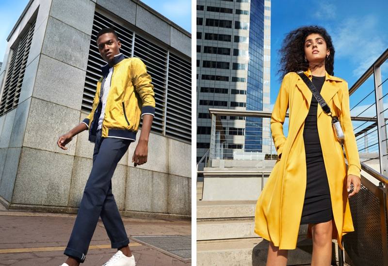 Sporting yellow, Jubril Oyedeji and Kiran Kandola star in Kenneth Cole's spring-summer 2019 campaign.