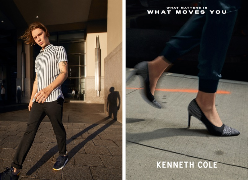 Model Luca Bertea appears in Kenneth Cole's spring-summer 2019 campaign.