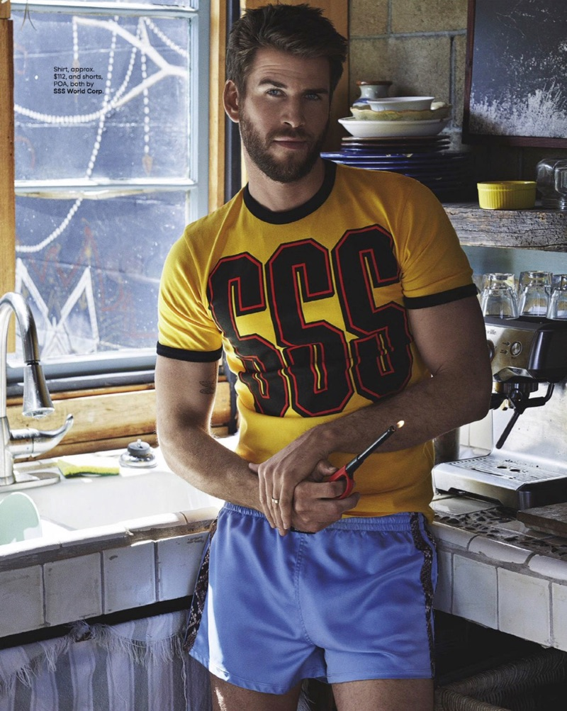 Embracing retro-inspired style, Liam Hemsworth sports a shirt and shorts by SSS World Corp.