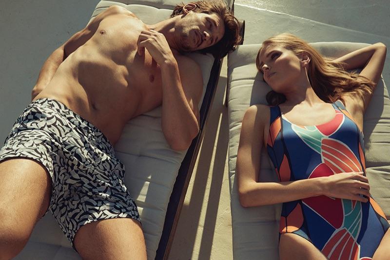 Lounging, Jarrod Scott and Lina Berg showcase Liberty London's summer fashions.