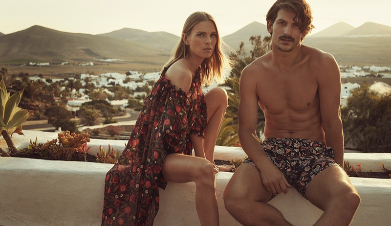 Liberty London enlists models Lina Berg and Jarrod Scott to front its travel and swim collection.