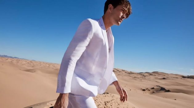 A vision in white, Francisco Lachowski wears a Lauren by Ralph Lauren linen sport coat $124.99 and dress pants $59.99.