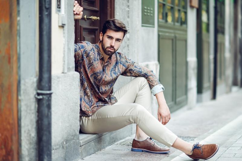Male Model Paisley Shirt Stylish Outfit
