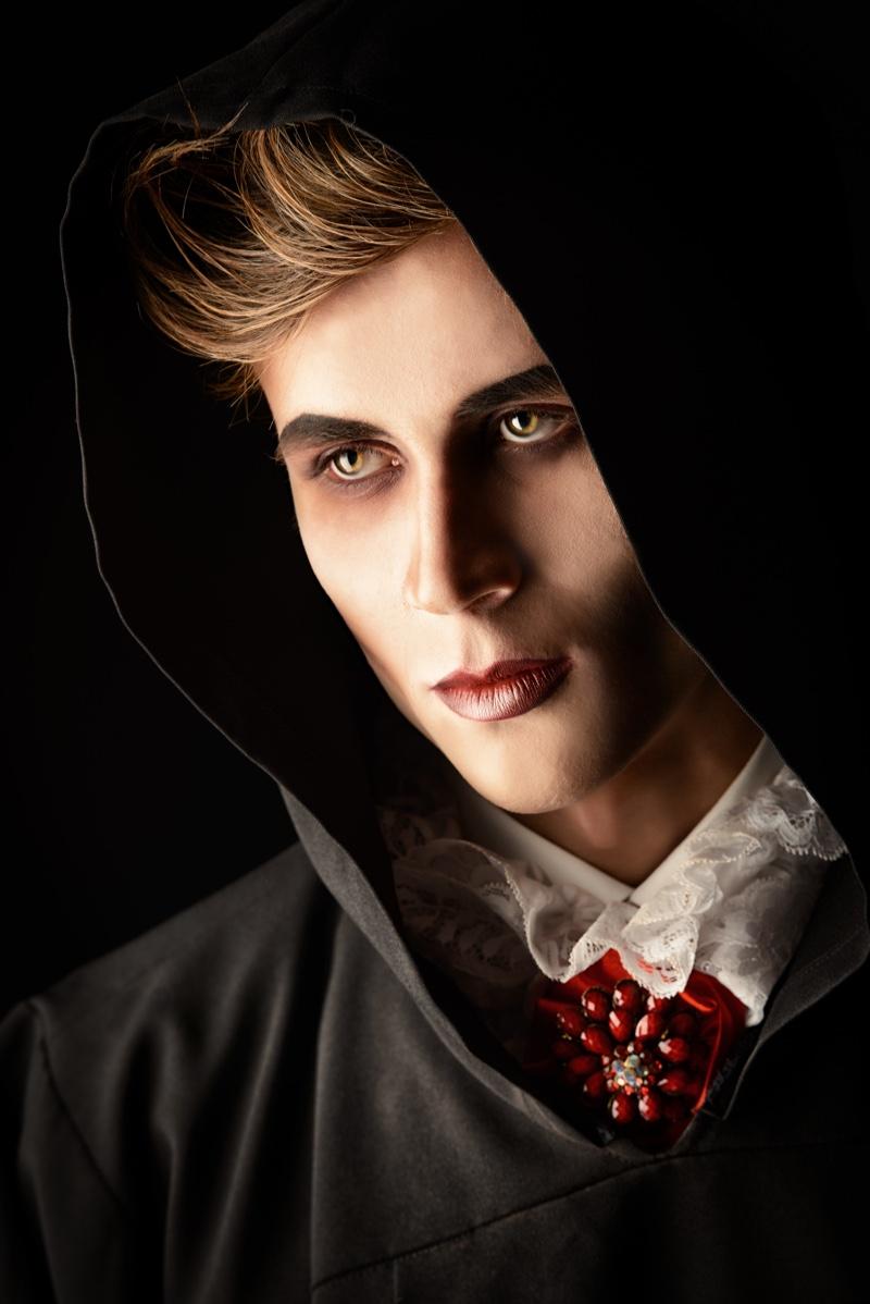 Male Model Vampire Horror Fashion Closeup