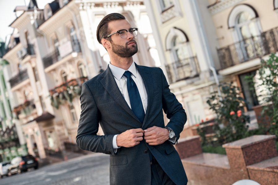 Man Suit Watch Glasses