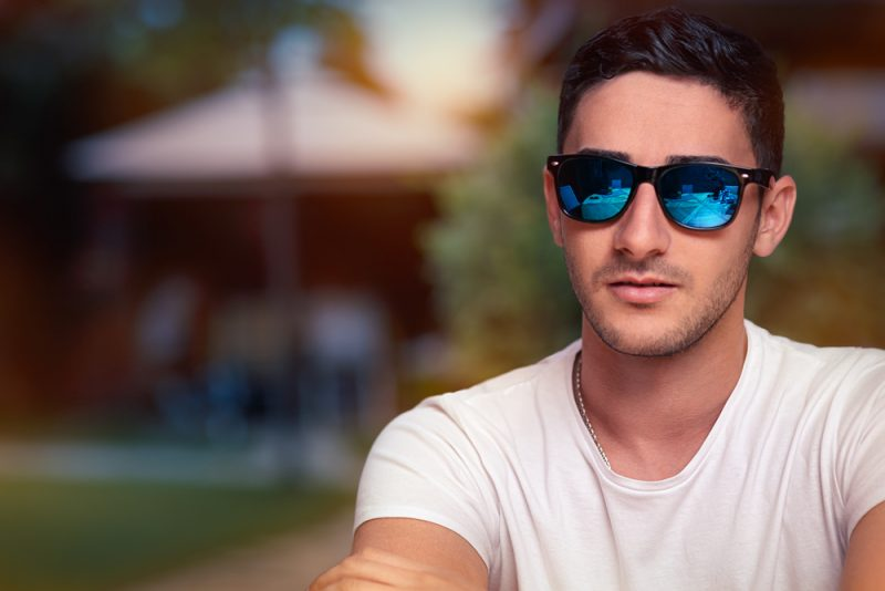 Man Sunglasses with Blue Colored Lenses