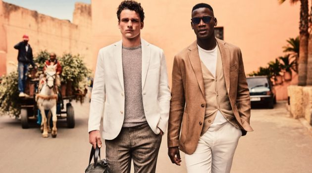 Models Simon Nessman and David Agbodji don chic summer style for Mango.