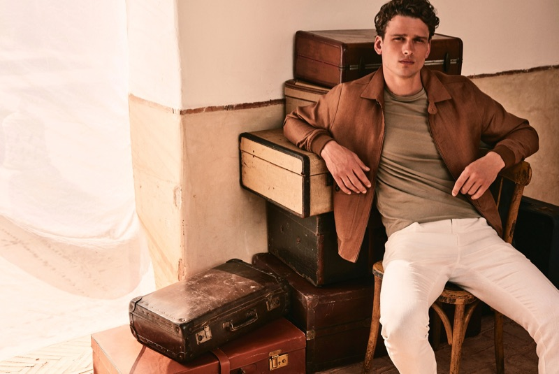Canadian model Simon Nessman wears a summer look from Mango.