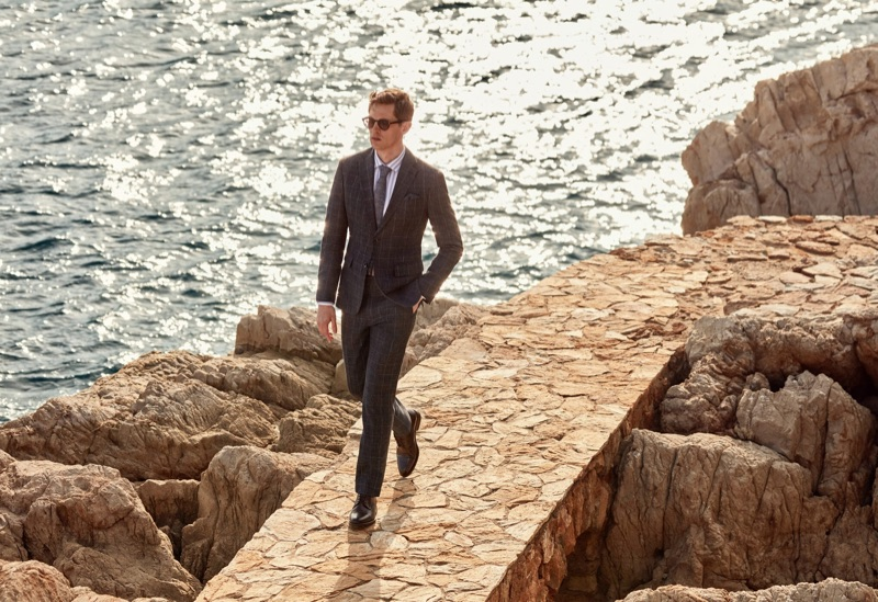 Mathias Lauridsen models a windowpane print suit from Mango.