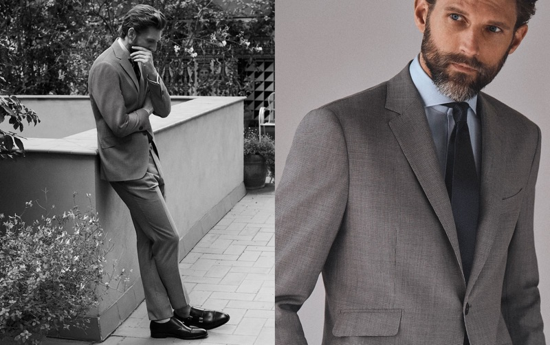 Model RJ Rogenski reunites with Massimo Dutti for a tailored outing.