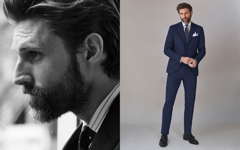 Taking to the studio, RJ Rogenski dons men's tailoring from Massimo Dutti.