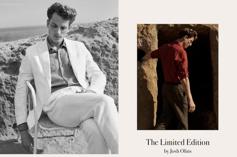 Hugo Sauzay dons sleek fashions from Massimo Dutti's spring-summer 2019 Limited Edition collection.