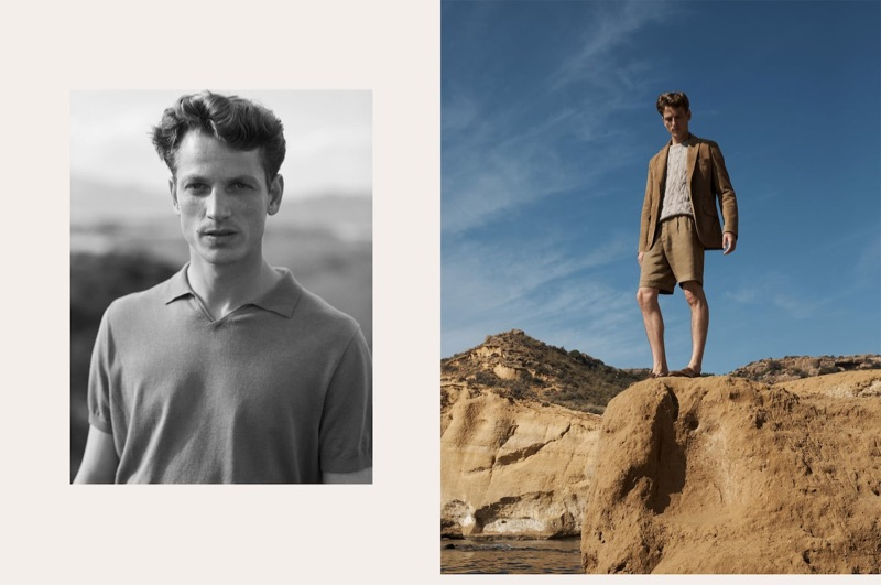 Josh Olins photographs Hugo Sauzay for Massimo Dutti.