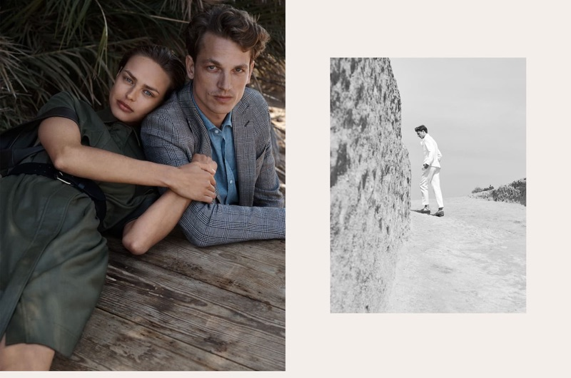 Birgit Kos and Hugo Sauzay wear fashions from Massimo Dutti's spring-summer 2019 Limited Edition collection.