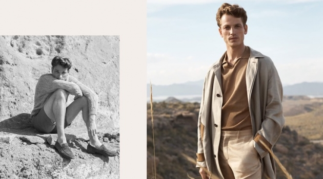 Embracing a neutral color palette, Hugo Sauzay wears Massimo Dutti.