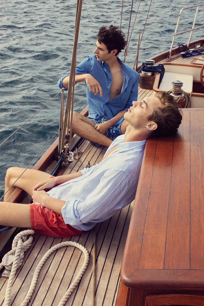 Enjoying a summer day, Kit Butler and Oscar Kindelan front Massimo Dutti's summer 2019 campaign.