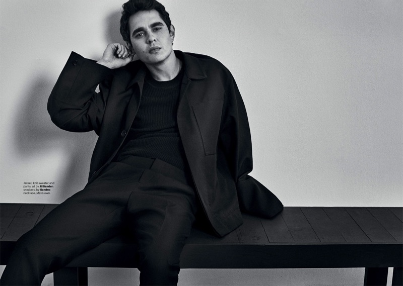 Actor Max Minghella wears a jacket, sweater, and pants by Jil Sander.