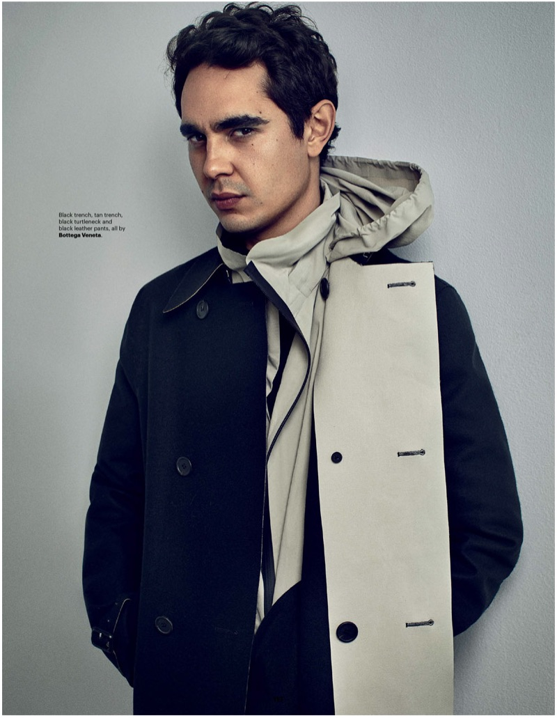 Connecting with Esquire Singapore, Max Minghella sports two trench coats with a turtleneck by Bottega Veneta.