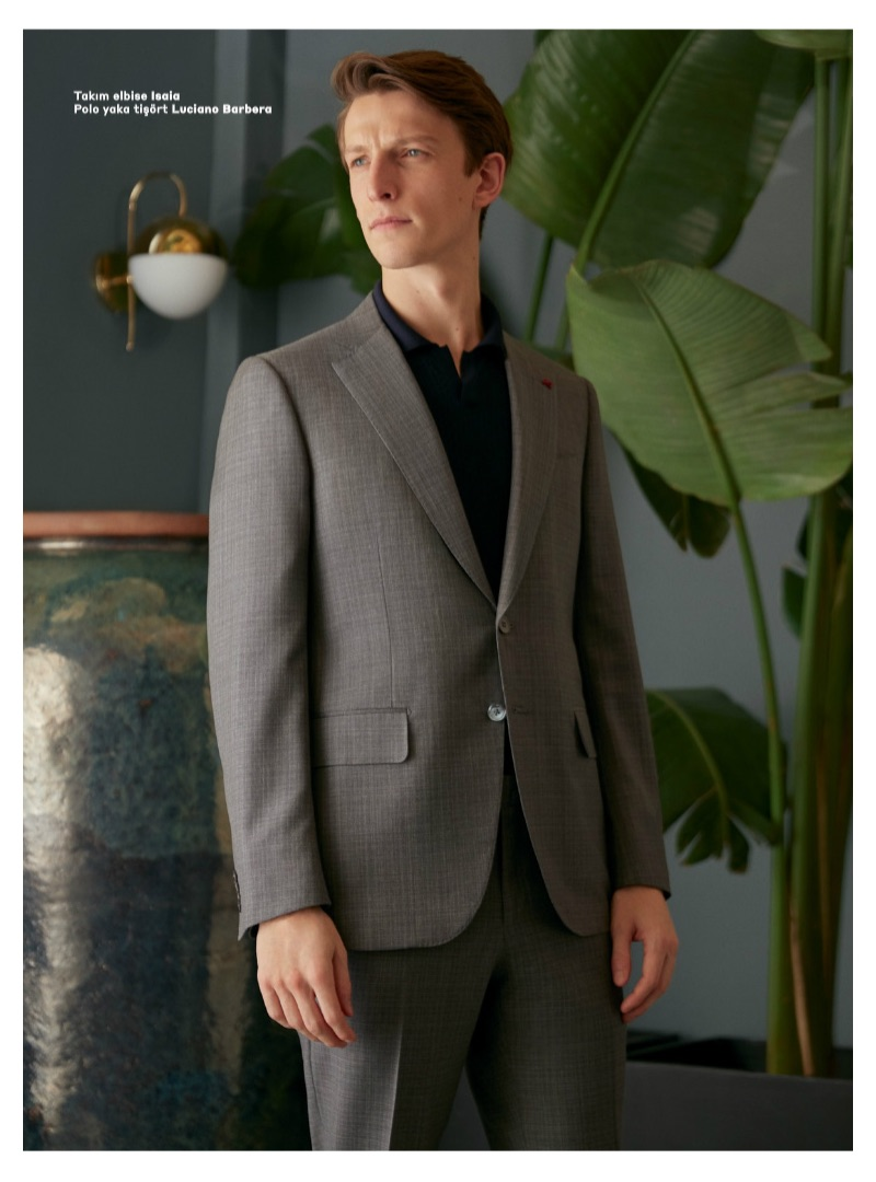 British model Max Townsend dons an ISAIA suit with a Luciano Barbera polo.