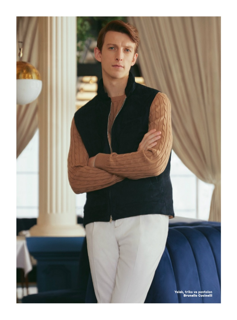 Front and center, Max Townsend wears a look from Brunello Cucinelli.