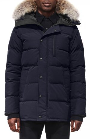 Men's Canada Goose 'Carson' Slim Fit Hooded Packable Parka With Genuine Coyote Fur Trim, Size Medium - Blue