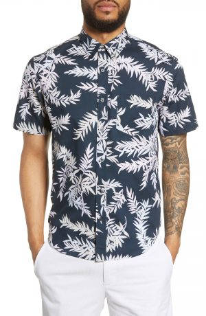 Men's Club Monaco Slim Fit Bosque Leaf Print Sport Shirt