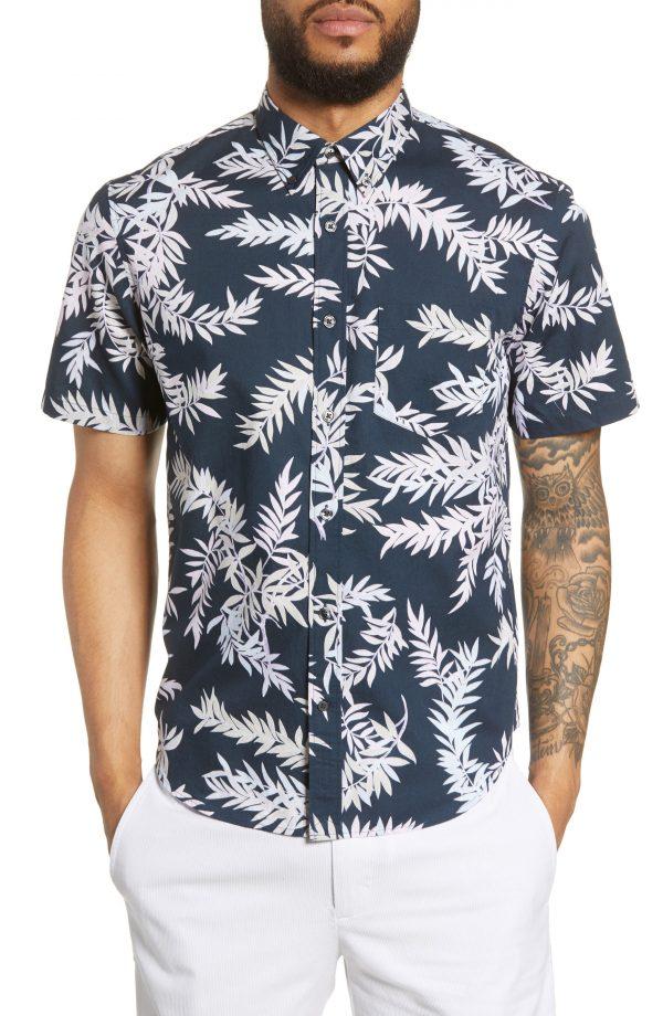 Men's Club Monaco Slim Fit Bosque Leaf Print Sport Shirt