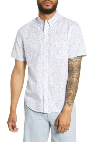 Men's Club Monaco Slim Fit Textured Dots Short Sleeve Button-Down Sport Shirt