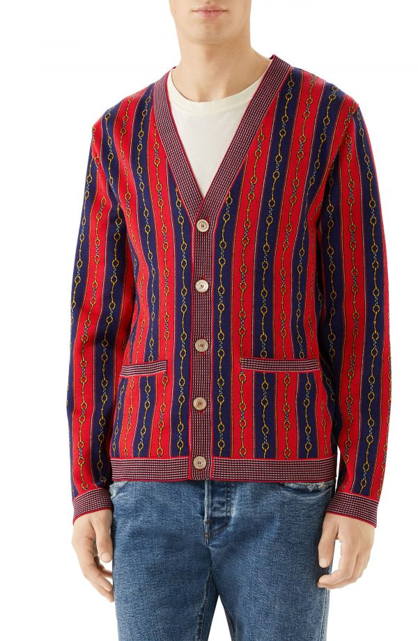 Men's Gucci Horsebit Stripe Cardigan, Size Medium - Red