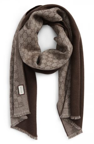 Men's Gucci Lonar Wool Jacquard Scarf, Size One Size - Beige