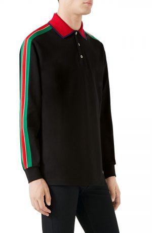 Men's Gucci Long Sleeve Polo, Size Medium - Black