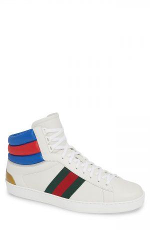 Men's Gucci New Ace Stripe High Top Sneaker, Size 8.5US / 7.5UK - White