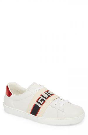 Men's Gucci New Ace Stripe Leather Sneaker, Size 6US / 5UK - White