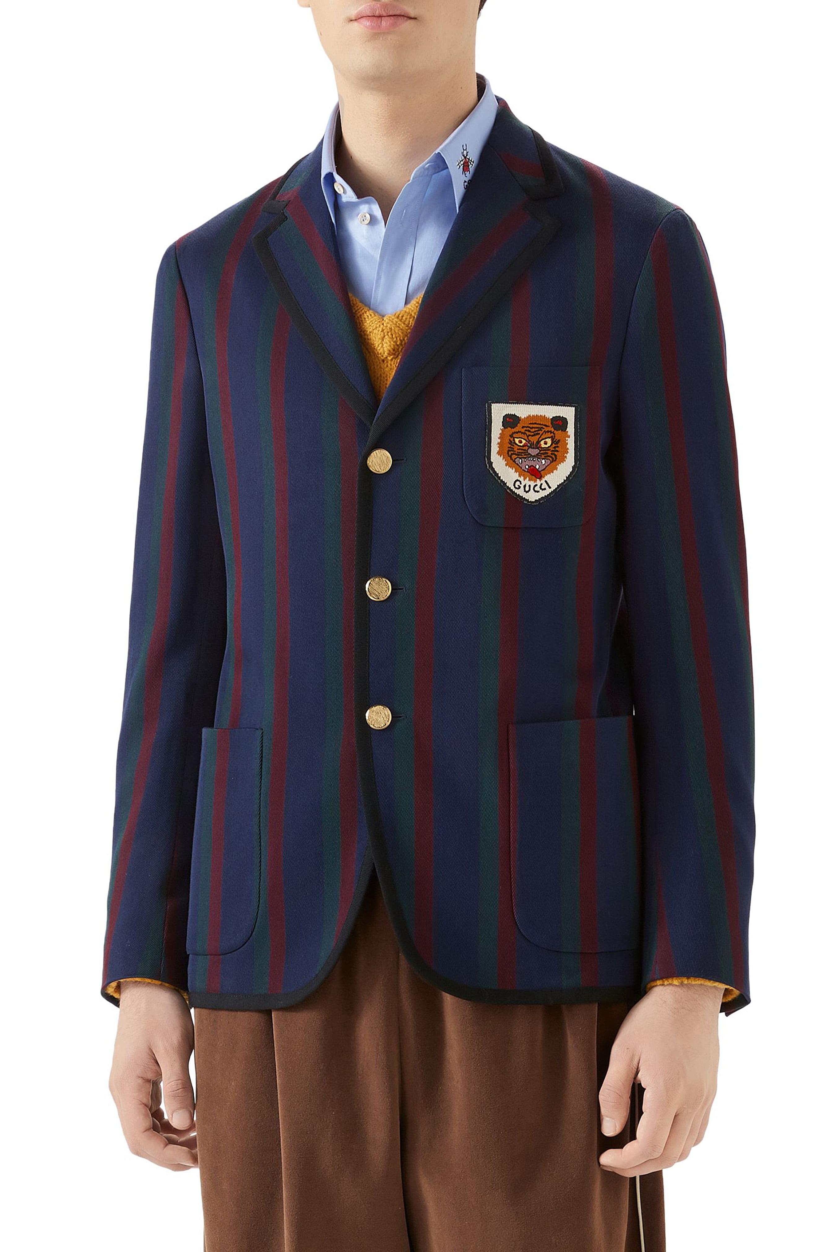 262269ae1 Men's Gucci Tiger Patch Stripe Cotton Jacket | The Fashionisto