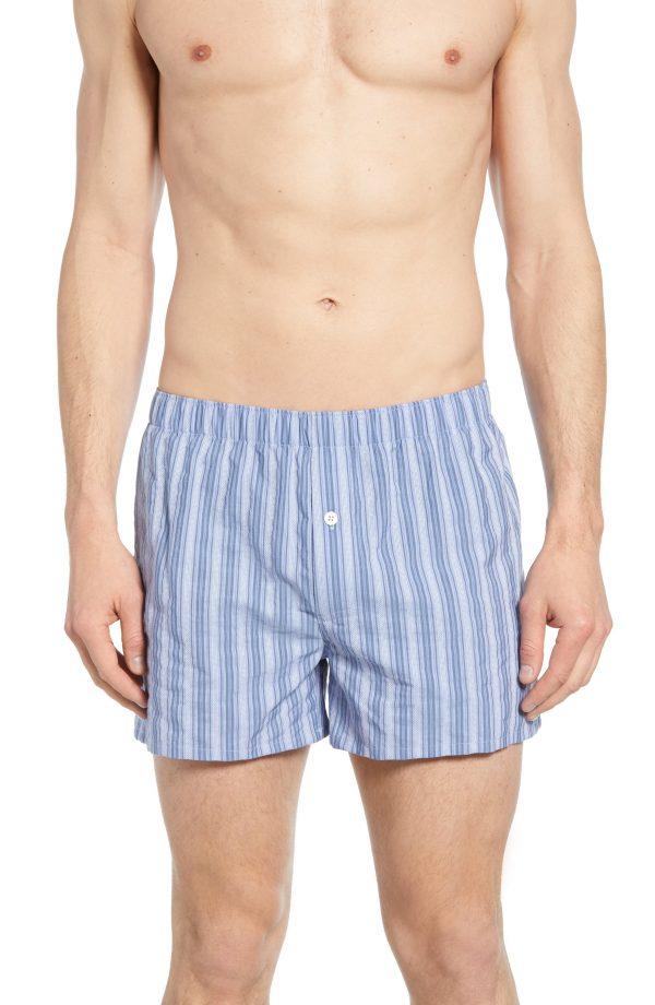 Men's Hanro Fancy Cotton Boxers, Size Large - Blue